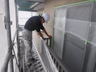 笠間市  S様  外壁塗装(養生)