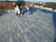 水戸市 K様邸 屋根塗装(施工前・下塗り・中塗り・上塗り)