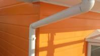 常陸太田市 S様邸 雨樋塗装(施工前・ケレン・下塗り・上塗り)
