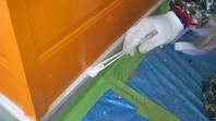 常陸太田市 S様邸 水切り塗装 (施工前・下塗り・上塗り)