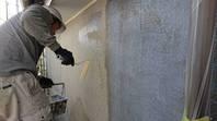 潮来市 W様邸 外壁塗装(下塗り・基礎塗り・模様吹き・中塗り)
