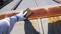 笠間市 K様邸 倉庫屋根塗装(施工前・ケレン・下塗り・中塗り)
