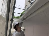 常陸太田市 I様邸 破風・雨樋塗装(ケレン・下塗り・上塗り)