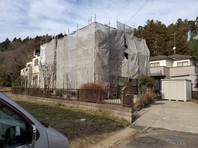 城里町 S様邸 外壁塗装・屋根葺き替え(架設足場組立)
