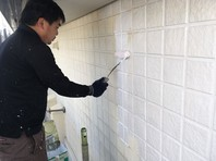 水戸市 N様邸 外壁塗装(下塗り)